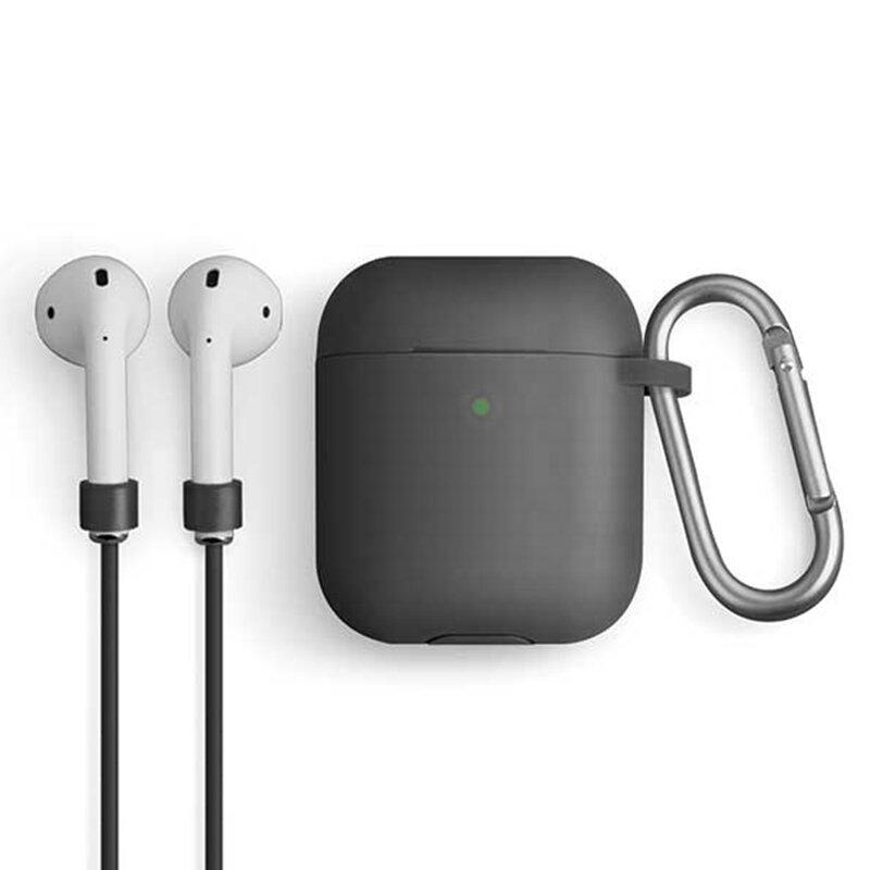 Husa Apple Airpods Uniq Vencer Din Silicon Cu Holder Metalic Si Strap Pentru Umeri Siliconic - Negru