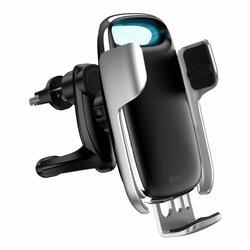 Suport Auto Baseus Milky Way Electric Gravity Induction Cu Incarcare Wireless + Cablu Micro-USB 15W - Argintiu