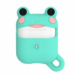 Husa Apple Airpods Kingxbar Adorable Cute Animals Cu Cristale Swarovski Din Silicon - Green Frog