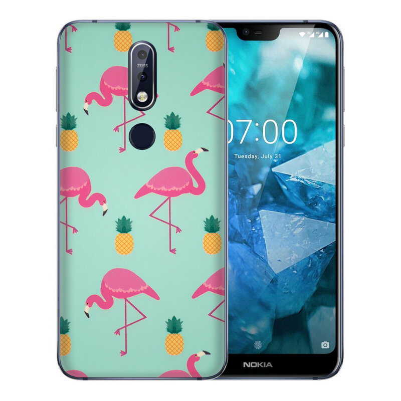 Skin Nokia 7.1 - Sticker Mobster Autoadeziv Pentru Spate - Flamingo