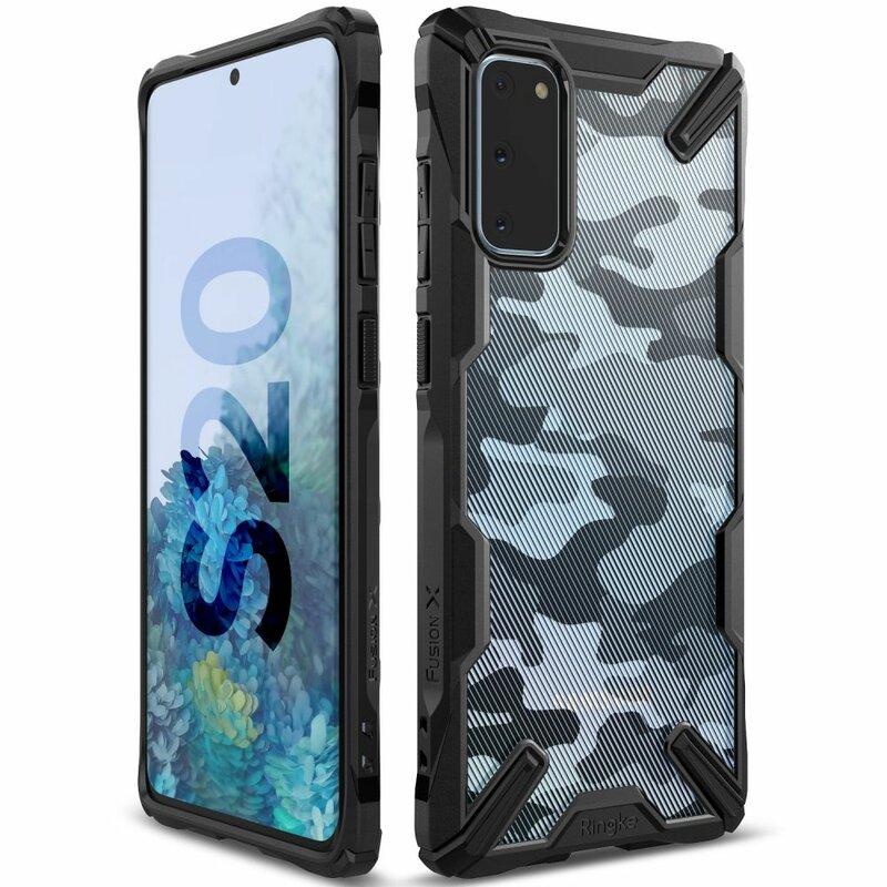Husa Samsung Galaxy S20 5G Ringke Fusion X Design - Camo Black