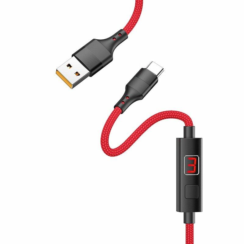 Cablu De Date Hoco Selected S13 Type-C Cu Temporizator Si Afisaj LED 5A 1.2m - Rosu