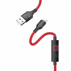 Cablu De Date Hoco Selected S13 Lightning Cu Temporizator Si Afisaj LED 2.4A 1.2m - Rosu