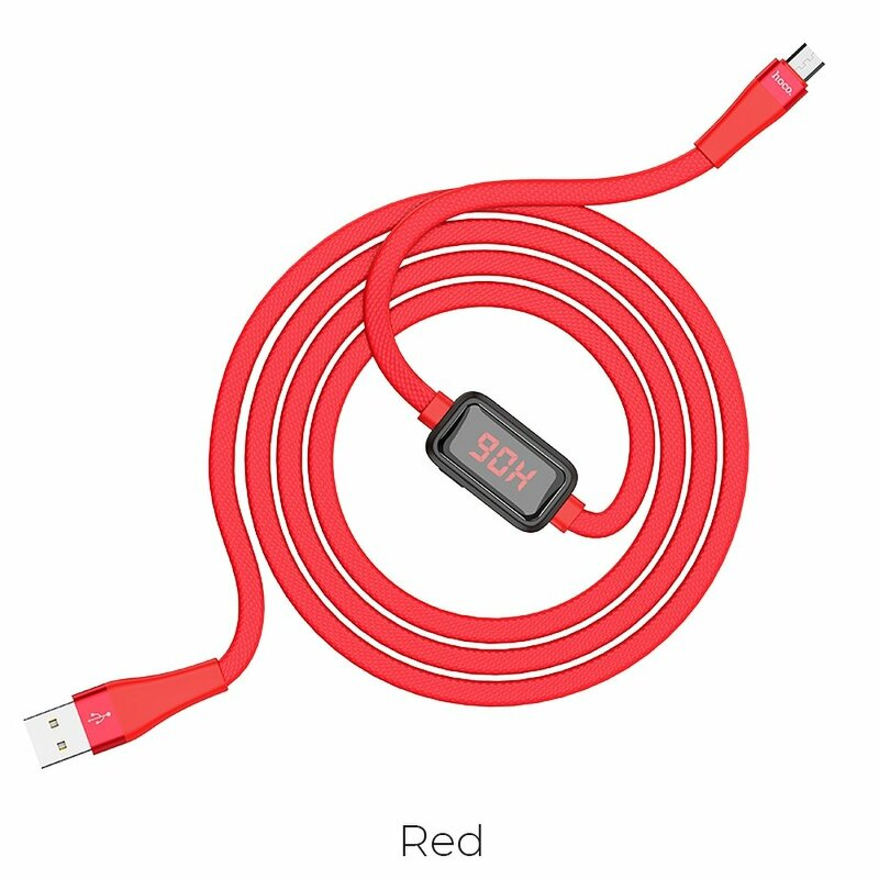 Cablu De Date Hoco Selected S4 USB La Micro-USB Cu Temporizator Si Afisaj LED 2.4A 1.2m - Rosu