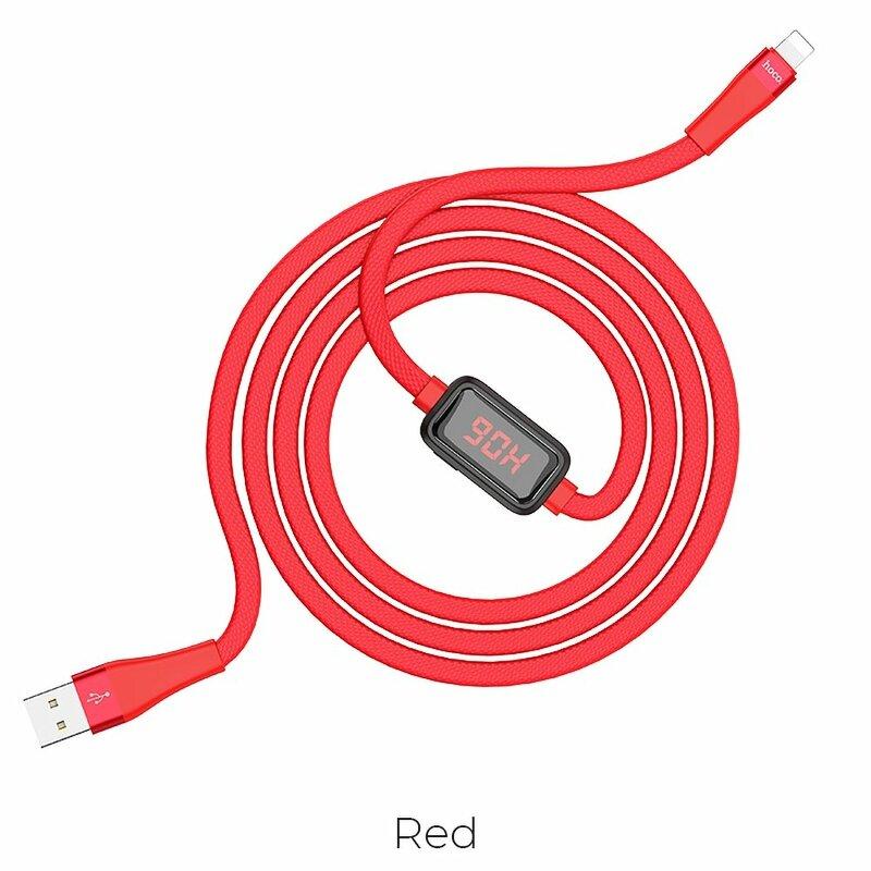 Cablu De Date Hoco Selected S4 USB La Lightning Cu Temporizator Si Afisaj LED 2.4A 1.2m - Rosu