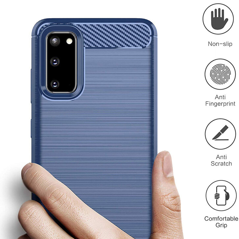 Husa Samsung Galaxy S20 5G TPU Carbon - Albastru
