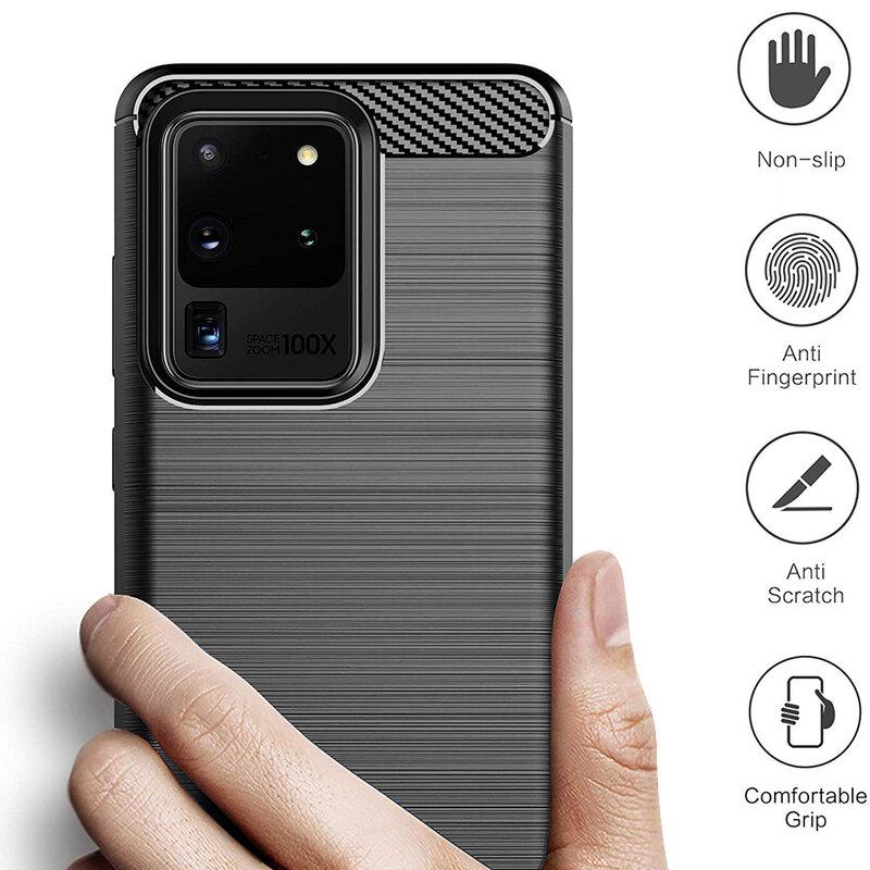 Husa Samsung Galaxy S20 Ultra 5G TPU Carbon - Negru