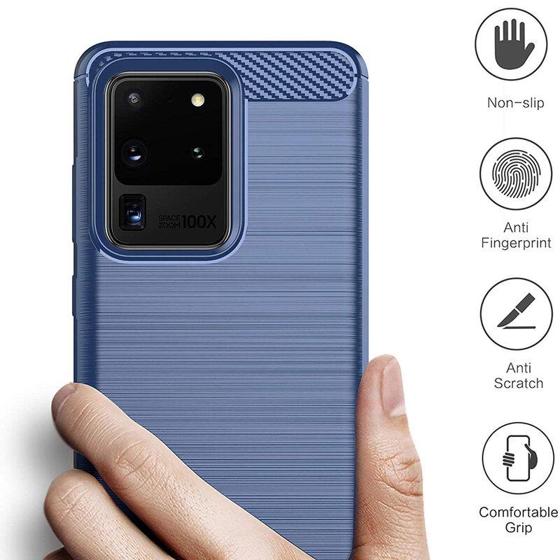 Husa Samsung Galaxy S20 Ultra 5G TPU Carbon - Albastru