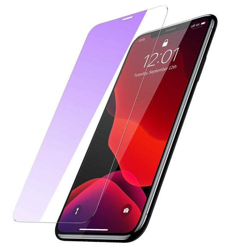[Pachet 2x] Folie Sticla iPhone 11 Pro Max Baseus Full-Glass Tempered Glass Film Anti-Bluelight - Clear