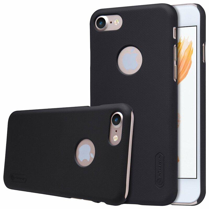 Husa iPhone 7 Nillkin Super Frosted Shield Cu Decupaj Sigla - Black