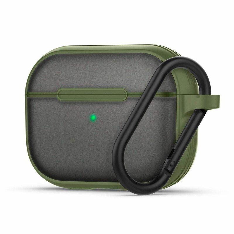 Husa Apple Airpods Pro Spigen Ciel by Cyrill Color Brick Transparenta Cu Holder Metalic - Verde