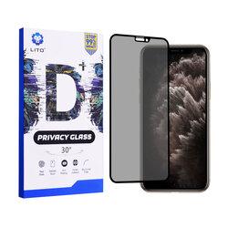 Folie Sticla iPhone 11 Pro Max Lito Privacy Cu Rama - Negru
