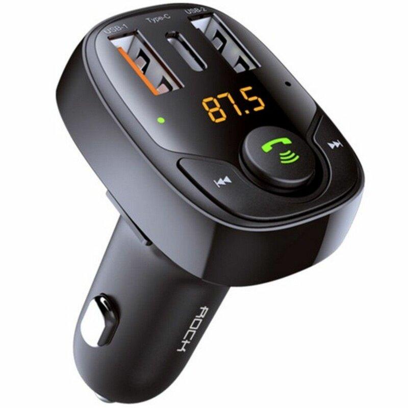 Incarcator Auto Cu Modulator FM Rock B301 Bluetooth MP3 Wireless Dual-USB + Type-C - Negru