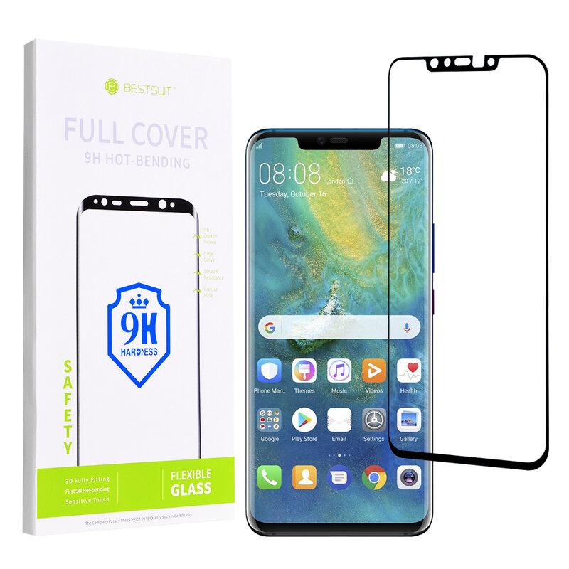 Folie Ecran Curbat Huawei Mate 20 Pro Nano FullGlue 9H - Negru