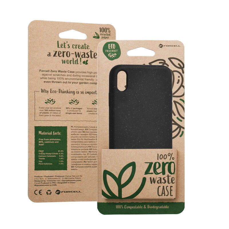 Husa iPhone XS Max Forcell Bio Zero Waste Eco Friendly - Negru