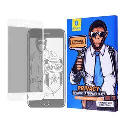 Folie Sticla iPhone 7 Blueo 5D Mr. Monkey HD Strong Privacy Cu Rama - Alb