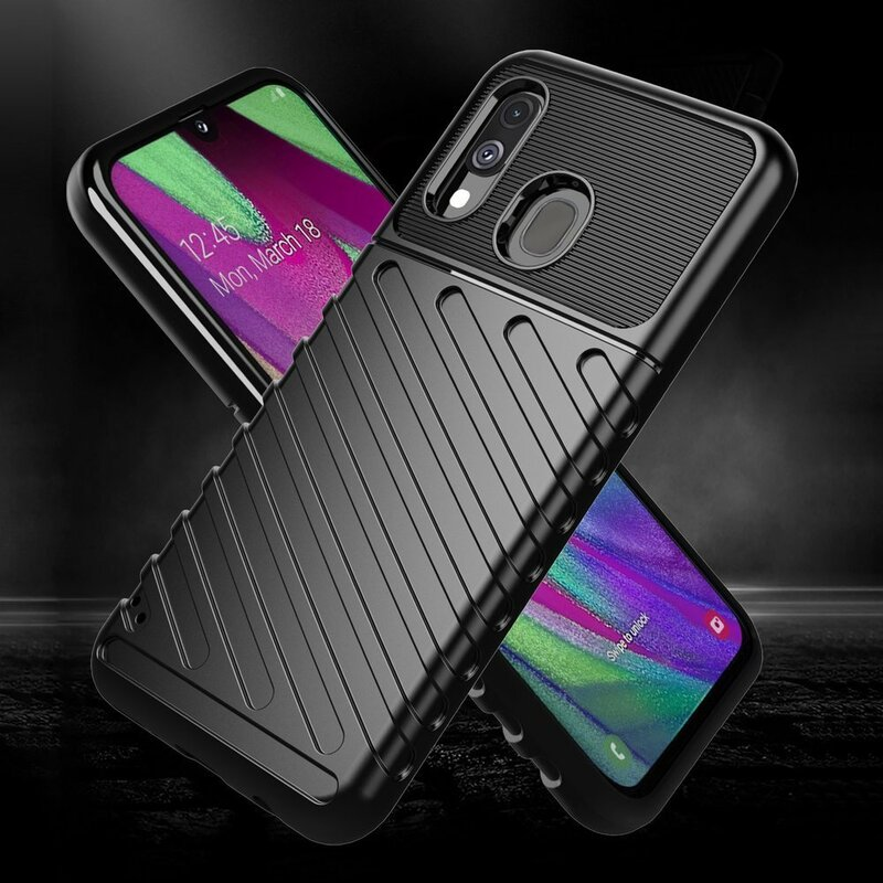 Husa Samsung Galaxy A40 Thunder Flexible Tough TPU - Negru