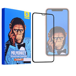 Folie Sticla iPhone 11 Pro Max Mr. Monkey 5D Hot Bending Cu Rama - Negru
