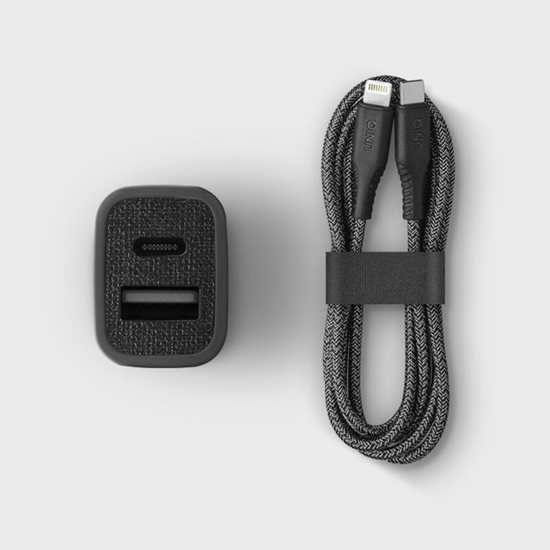 Incarcator Auto Uniq Votra Duo P30 Type-C PD3.0 18W USB-A 2.4A + Cablu Incarcare Type-C/Lightning - Negru