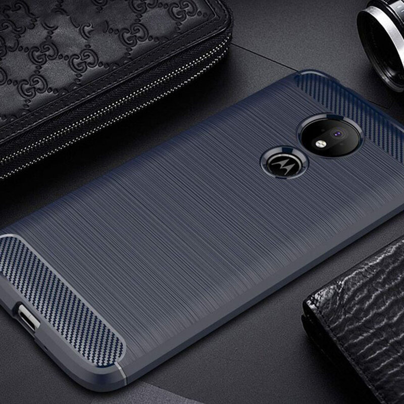 Husa Motorola Moto G7 Power TPU Carbon Albastru