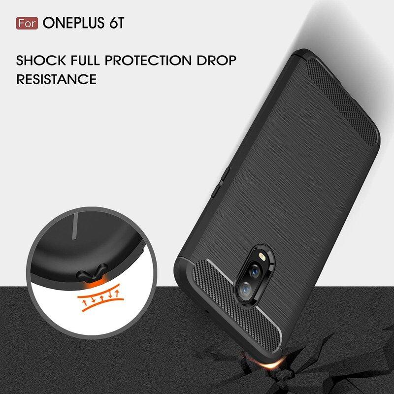Husa OnePlus 6T TPU Carbon Rosu