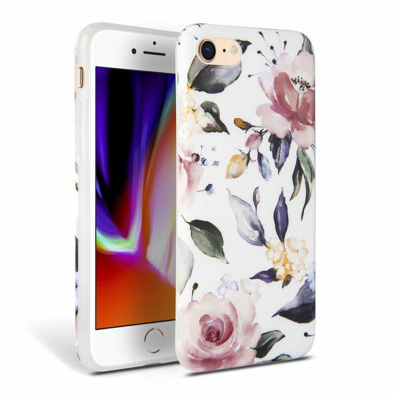 Husa iPhone 8 Tech-Protect Floral - Alb