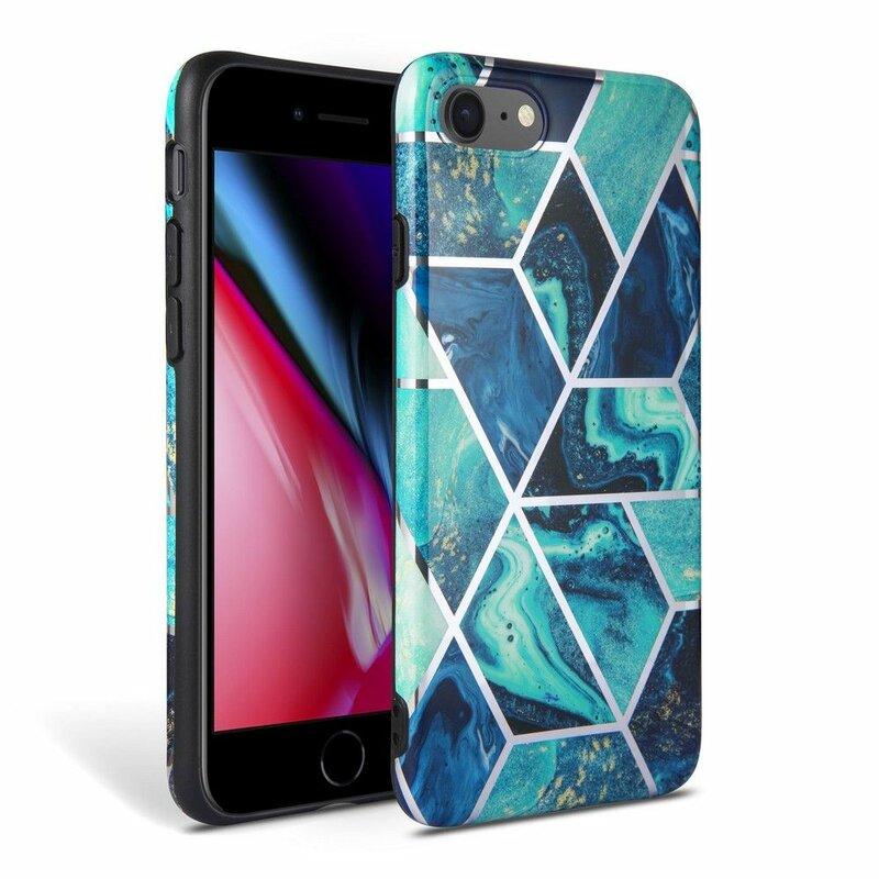 Husa iPhone 8 Tech-Protect Marble - Albastru