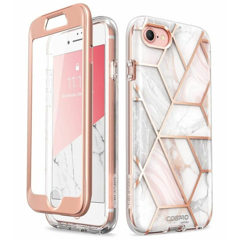 [Pachet 360°] Husa iPhone 8 I-Blason Cosmo + Folie Ecran - Marble