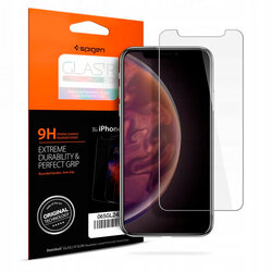 Folie Sticla iPhone XS Spigen Glas.t R Slim 9H - Clear