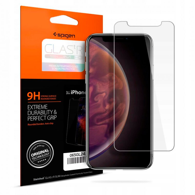 Folie Sticla iPhone XS Spigen Glas.t R Slim 9H - Clear