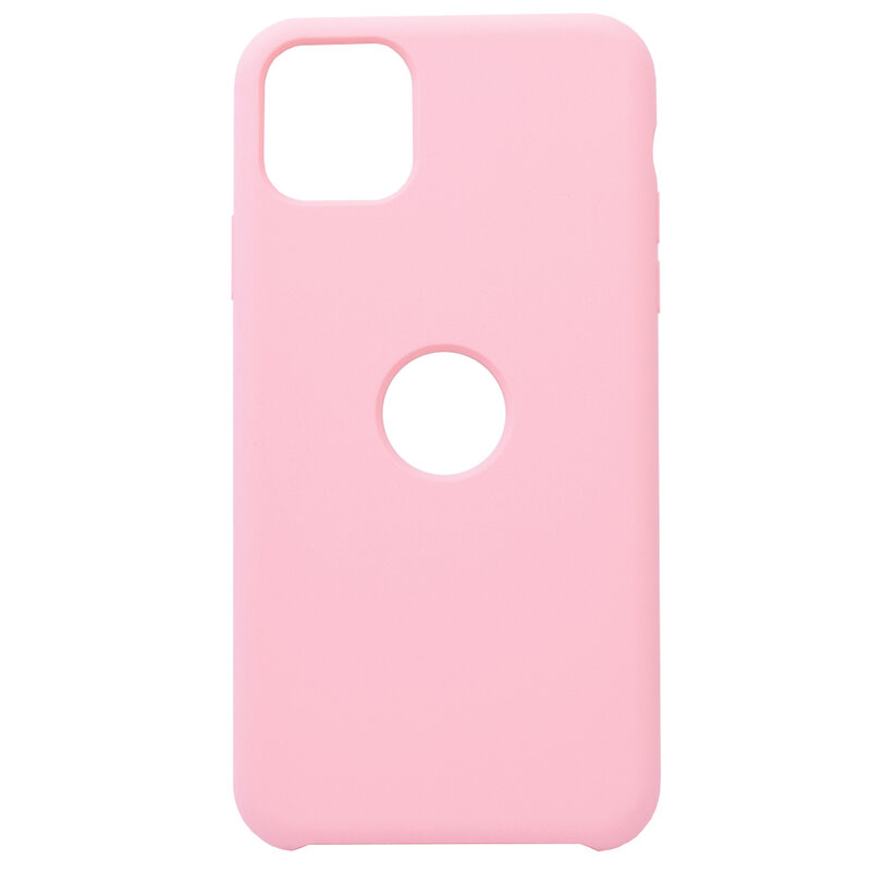 Husa iPhone 11 Pro Max Silicon Soft Touch Logo Cut - Roz