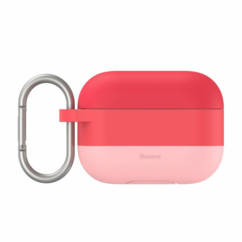Husa Apple Airpods Pro Baseus Silicon Gel Protective Case Cu Holder Metalic - WIAPPOD-E04 - Roz