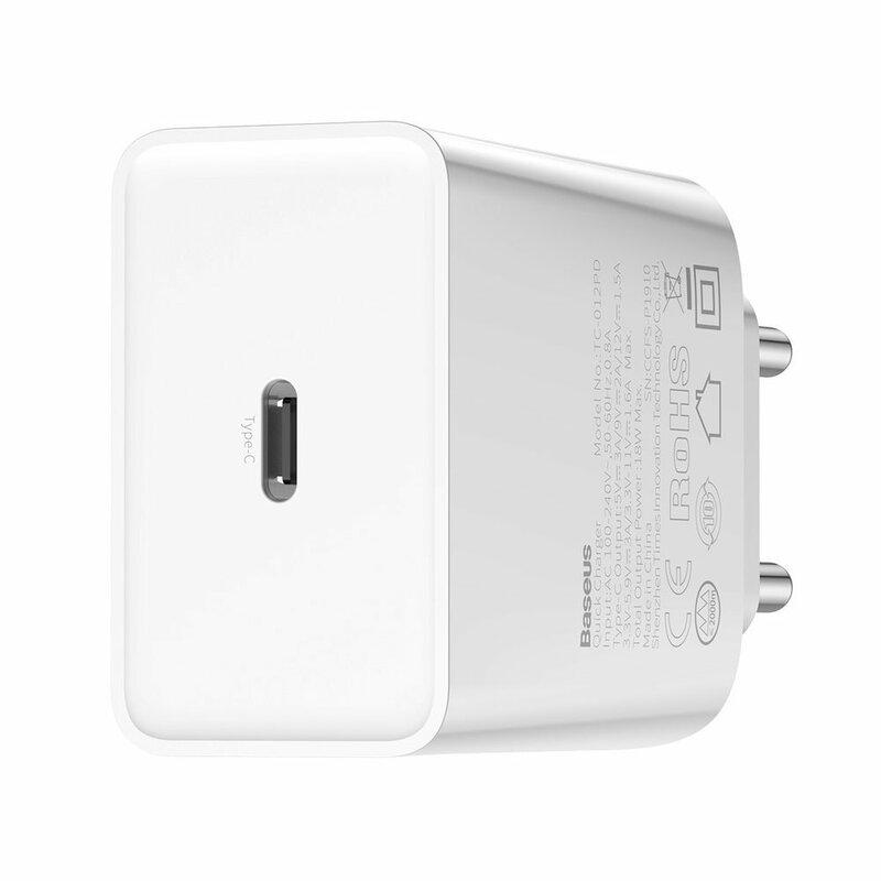 Incarcator Priza Baseus Speed Mini PD Single Type-C 18W + Cablu Incarcare Type-C/Lightning - TZCCFS-X02 - Alb