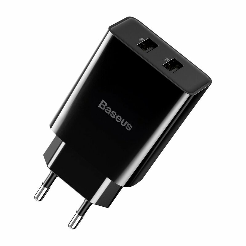 Incarcator Priza Baseus Speed Mini Dual U 2.1A 10.5W + Cablu De Incarcare USB/Lightning - TZCCFS-R01 - Negru