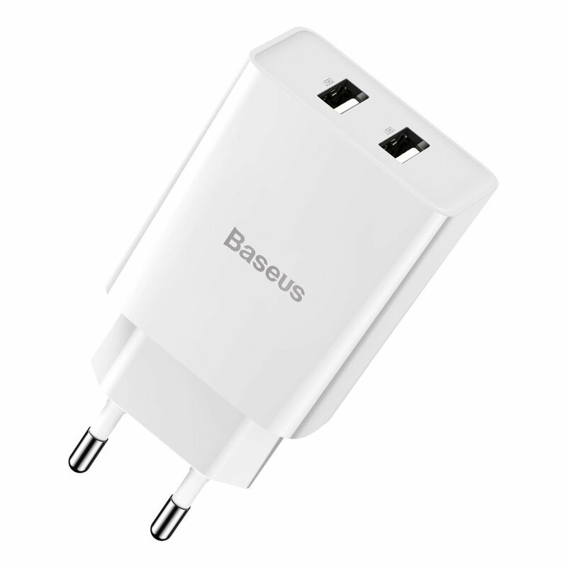 Incarcator Priza Baseus Speed Mini Dual U 2.1A 10.5W + Cablu De Incarcare USB/Lightning - TZCCFS-R02 - Alb
