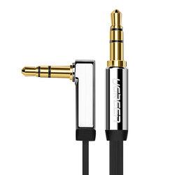 Cablu audio Ugreen Angled 90°, mini jack plat 3.5mm, 1m, argintiu, 10597