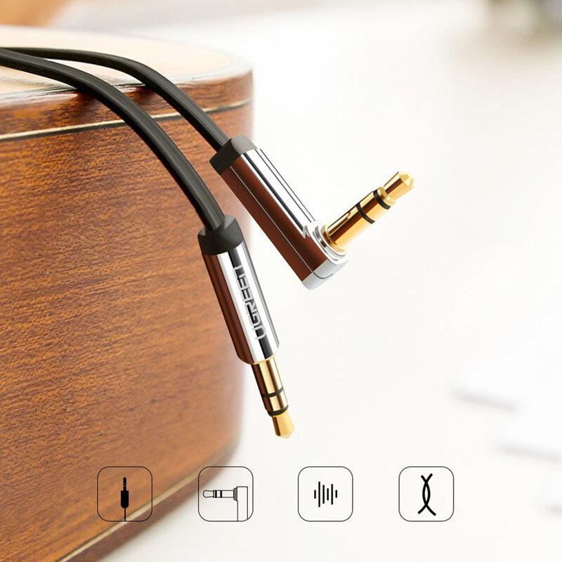 Cablu audio Ugreen Angled 90°, mini jack plat 3.5mm, 2m, argintiu, 10599
