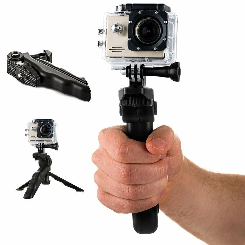 Suport Multifunctional 2in1 Selfie Tripod De Tip Stand Holder Grip Pentru GoPro / SJCAM / Xiaomi - Negru