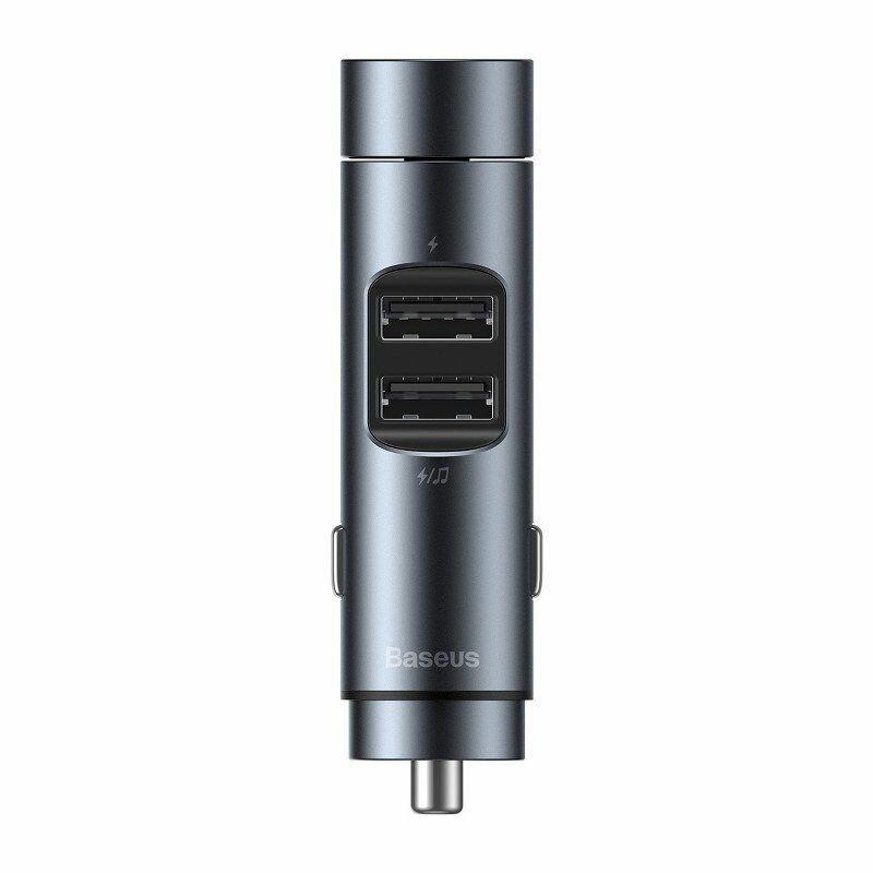 Incarcator Auto Cu Modulator FM Baseus Energy Column MP3 Bluetooth 2xUSB 3.1A - CCNLZ-0G - Gri Inchis