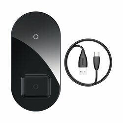 Incarcator Wireless Baseus Simple 2in1 Qi Charger For Smartphones And AirPods 15W - WXJK-01 - Black