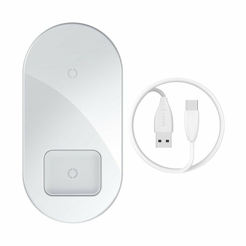 Incarcator Wireless Baseus Simple 2in1 Qi Charger For Smartphones And AirPods 15W - WXJK-02 - White