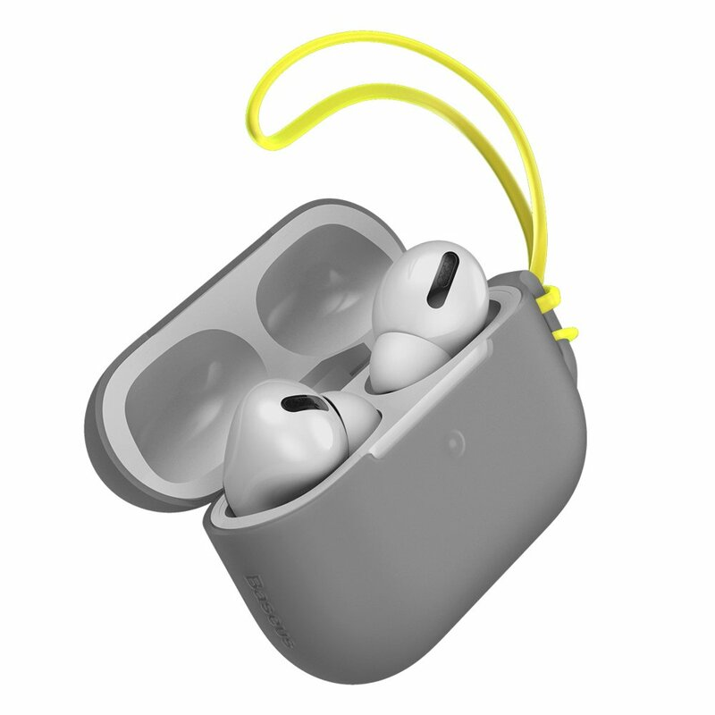 Husa Apple Airpods Pro Baseus Let''s go Jelly Lanyard Case Silica Gel Cu Strap Siliconic - WIAPPOD-D0G - Gray