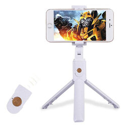Suport Selfie Stick Combo With Tripod And Remote Control Bluetooth K07 - White