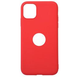 Husa iPhone 11 Soft TPU Cu Decupaj Sigla - Rosu Deschis