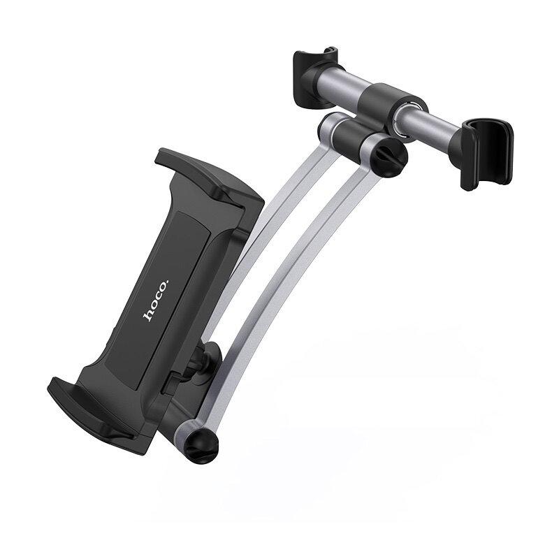 Suport Auto Tetiera Hoco CA62 Backrest Handsome Aluminum Universal Pentru Telefoane/Tablete - Black/Silver