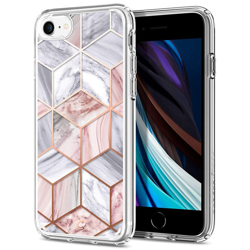 Husa iPhone SE 2, SE 2020 Spigen Ciel by Cyrill Cecile - Pink Marble