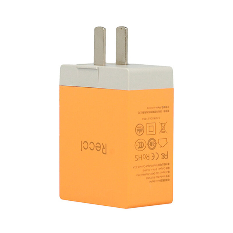 Incarcator Priza Recci Cube RUC5003 4x USB 2.1A CN/US Plug + EU Black Adapter - Orange