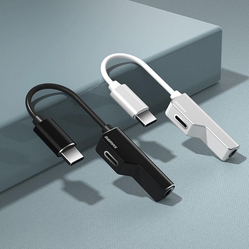 Convertor Audio Remax Enjoy Series Splitter Adapter Type-C to Type-C/AUX Jack 3,5mm - RL-LA02a - Black