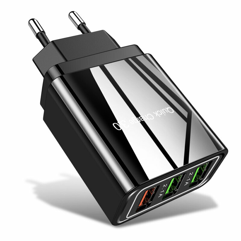 Incarcator Priza Qualcomm Fast 3xUSB 5.1A Quick Charge + Cablu 3in1, 1.2m - Negru
