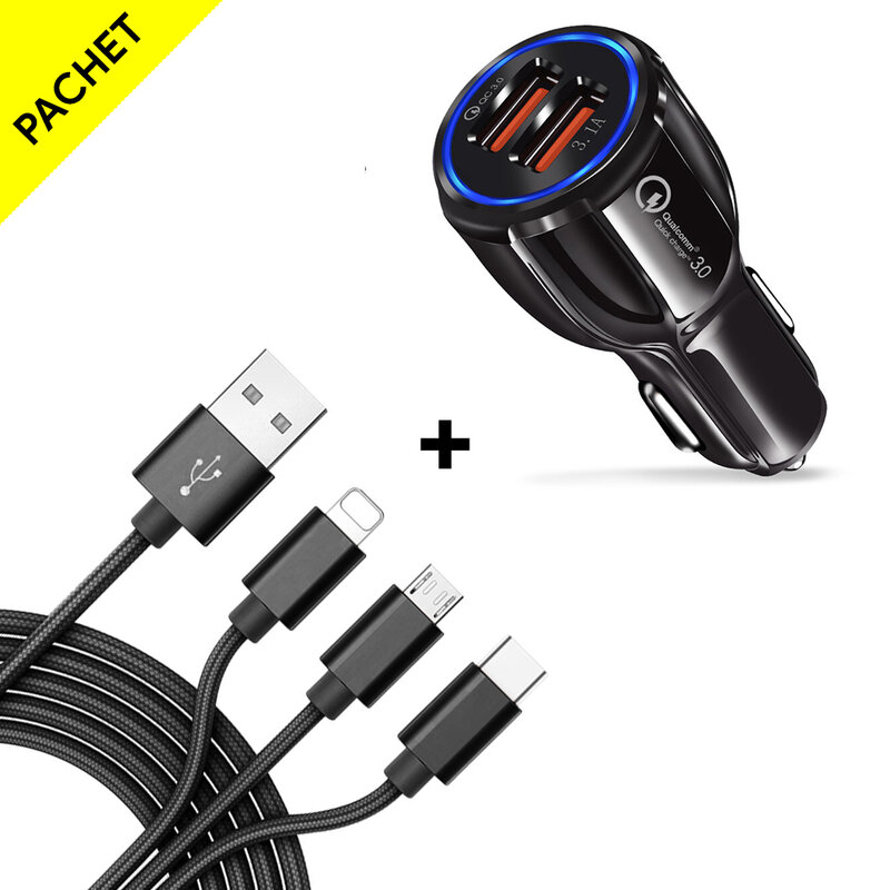 Incarcator Auto Mobster Qualcomm Quick Charge 3.0, Dual USB 5V/6A + Cablu 3in1, 1.2m - Negru